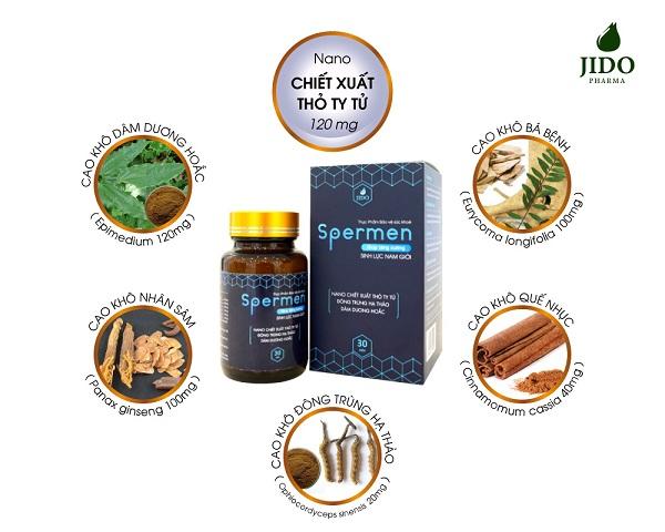 Viên uống tăng cường sinh lực nam Spermen với nano chiết xuất Thỏ Ty Tử và các loại thảo dược quý hiếm