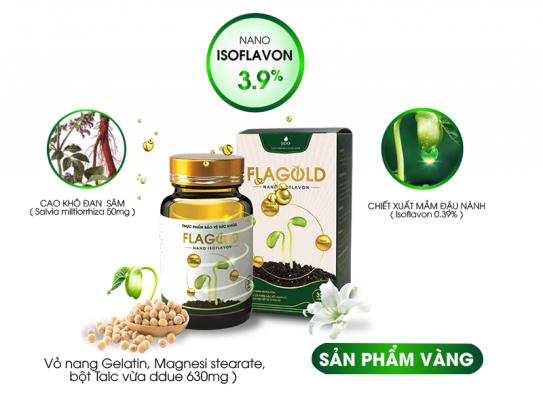 Viên uống nano mầm đậu nành Flagold có thành phần gồm Nano Isoflavon, chiết xuất mầm đậu nành và cao khô đan sâm