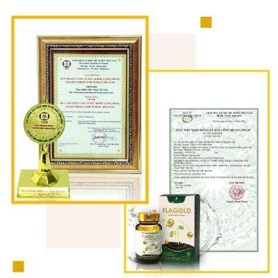 """Nano mầm đậu nành Flagold vinh dự nhận chứng nhận từ Bộ Y Tế và danh hiệu """"Sản phẩm vàng vì sức khỏe cộng đồng"""""""
