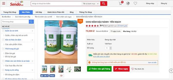 Mầm đậu nành Yến Mạch có giá 75 000vnđ/kg trên Sendo