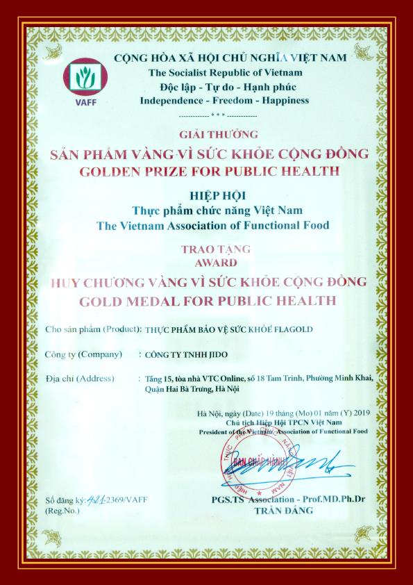"""Flagold được chứng nhận là """"Sản phẩm vàng vì sức khỏe cộng đồng"""""""