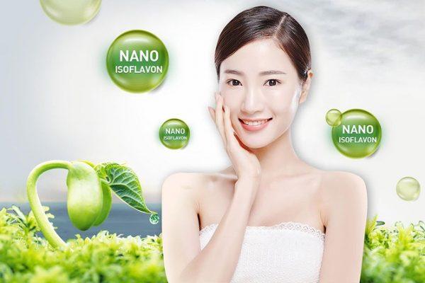 Chiết xuất mầm đậu nành Nano Isoflavon đem lại làm da tươi trẻ, trắng hồng.