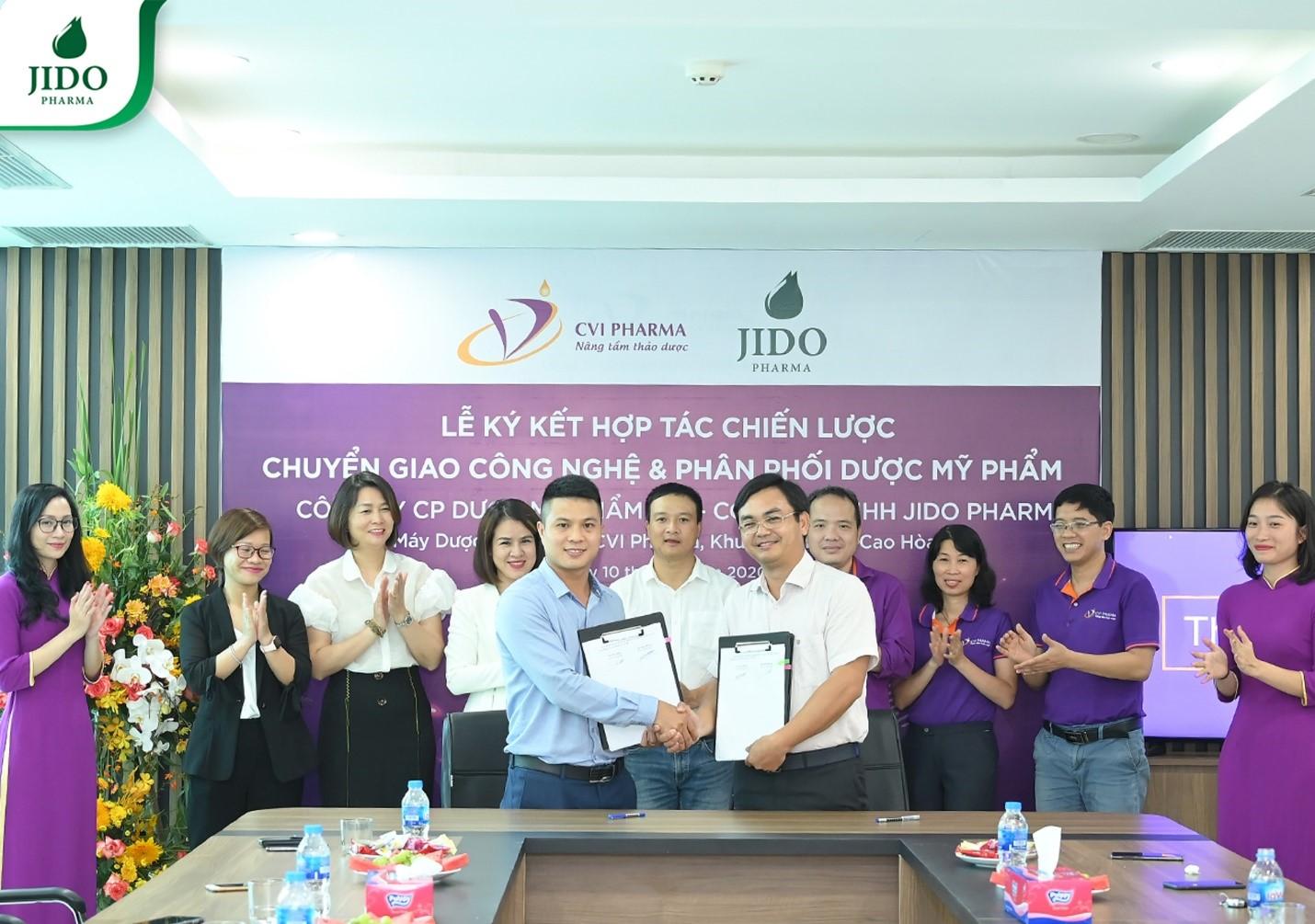 Jido Pharma ký kết hợp tác chiến lược với Công ty CP dược mỹ phẩm CVI